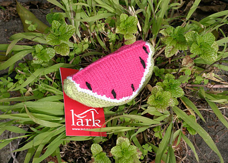 Watermelon Hand-Knitted Fruit Rattle by Lark