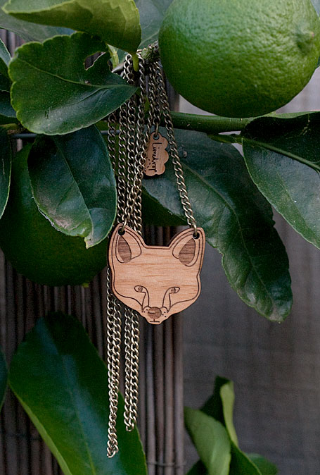 Feline Fox necklace in cherrywood by Limedrop