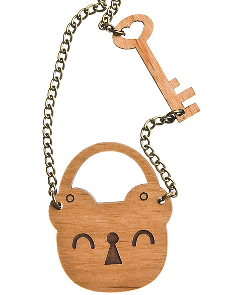 Lockface necklace in cherrywood by Limedrop