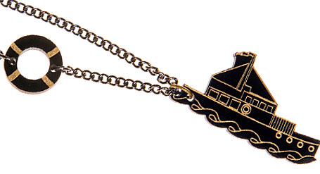 Sinking Ship necklace in black by Limedrop