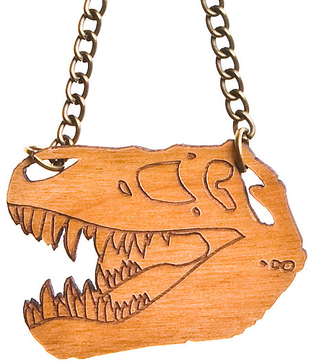 T-rex necklace in cherrywood by Limedrop