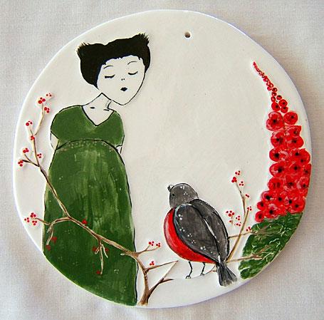 Bird Song 14.5cm Ceramic Disk by Linogirl