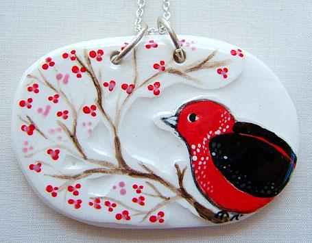 First Bird in Spring Ceramic Pendant by Linogirl