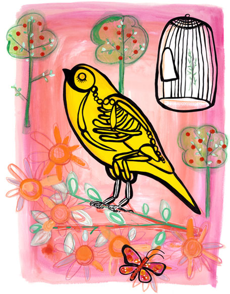 The Happy Warbler by Madeleine Stamer of Little Circus Design