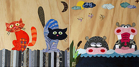 Cats on a Fence & Hungry Hippos childrens wall art by Look at the Wall