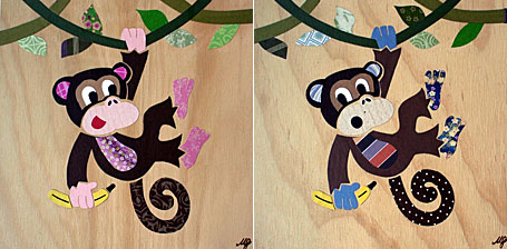 Cheeky Monkey childrens wall art by Look at the Wall