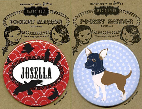 Black Forest Personalised Pocket Mirror and Good Dog Pocket Mirror by Magic Jelly