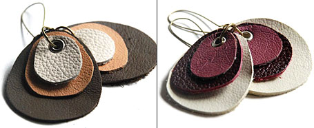 Recycled Leather Earrings by Mainichi Designs