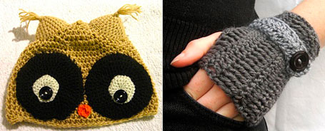 Knitted owl beanie and gloves by melpdesigns