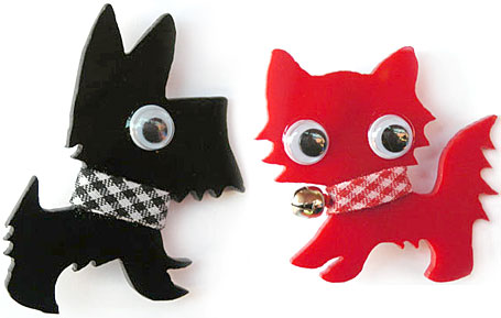 Scotty & Kitty Perspex Brooches by Mistress of the Upper Fifth