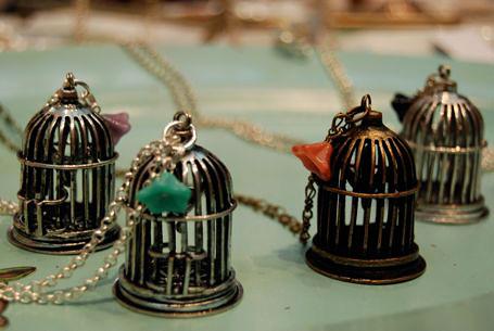 Bird cage necklaces by Mecino