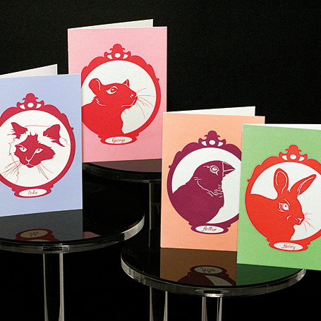 Non-Fiction Family Portrait greeting cards - Inka the Birman cat, George the rat, Arthur the zebra finch and Henry the rabbit