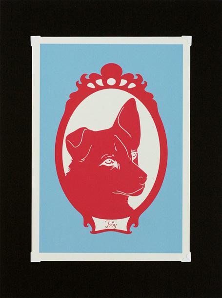 Toby archival print by Sydney design & fashion label Non-Fiction, on exhibition at Bob Boutique, Bendigo.