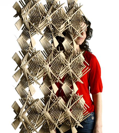 Christina Waterson, Plexa Module, 2007, stainless steel. On display at the Bombay Sapphire Design Discovery Award Exhibition 2008, Object Gallery.