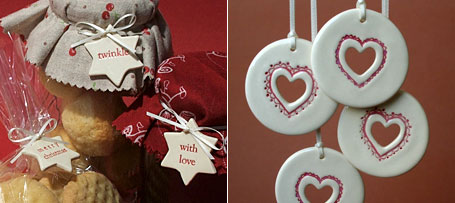 Ceramic Stars and Petite Round with Heart - Christmas decorations by Paper Boat Press