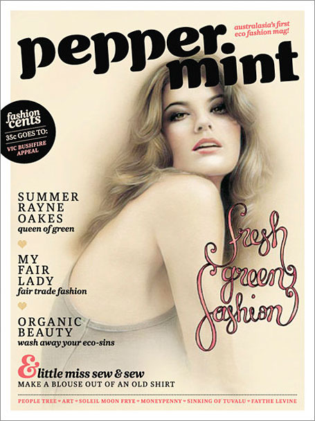 Peppermint Magazine Cover - Issue 2 featuring illustration of Summer Rayne Oakes by Bec Winnel