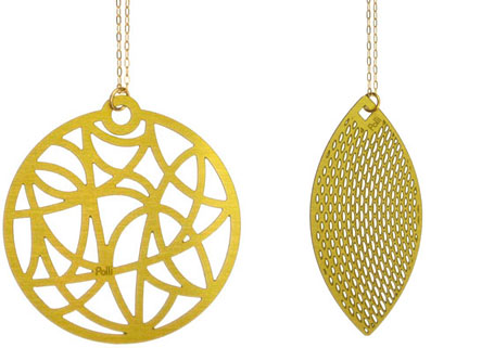 Gold Globe pendant and Gold Sweep pendant by Polli