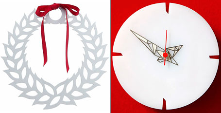 White Wreath and Fractal Eco Clock by Polli