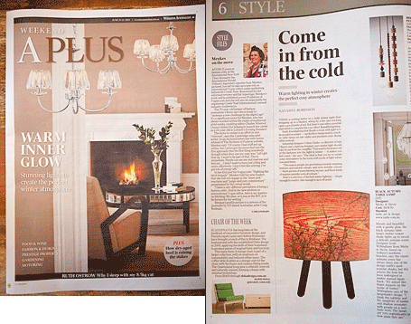 Micky & Stevie Black Autumn Table Lamp from indie art & design featured in the A Plus section of the Australian, June 2014.