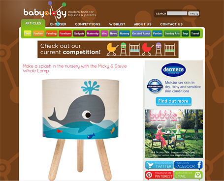 Micky & Stevie Whale Timber Table Lamp from indie art & design featured on Babyology, June 2014.