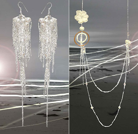 Hidden Pearl (It's Your Secret) Draped Earrings and First Kiss Necklace by Psychoglam