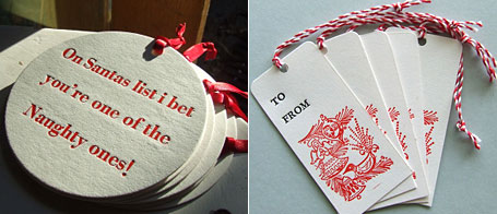 Letterpress Christmas ornaments and tags by RubyVictoria