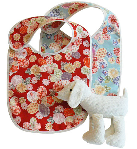 sallymac Japanese cotton bibs and Japanese cotton dog softie