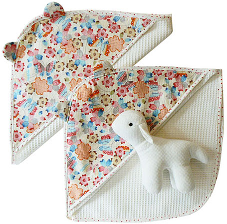 sallymac waffle towel with Japanese cotton hood and Japanese cotton sheep softie