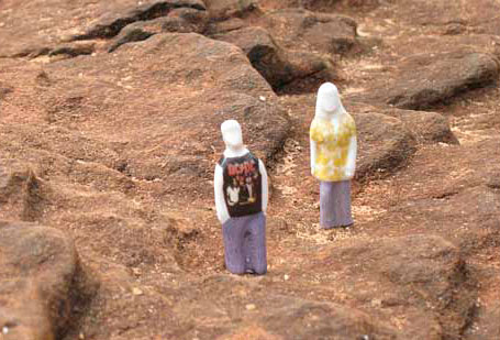 The Little People on the moon by Sandwich Mountain, a collaboration between Brisbane-based ceramicists Mel Robson and Kenji Uranishi.