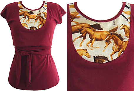 Burgundy Horse Bib Top by Secret Squirrel Clothing - available from YTBA, Yet To Be Announced Designer Products