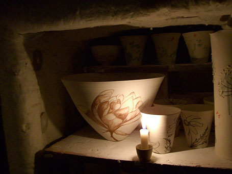 Magnolia pieces in kiln by Queensland-based ceramicist Shannon Garson.