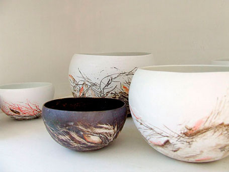 Nests by Queensland-based ceramicist Shannon Garson - from the Little Uns ceramics exhibition at Pomme, Mornington, Victoria.