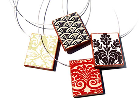 Fabric & wood Rectangle Pendants by Shonah Jewellery Design