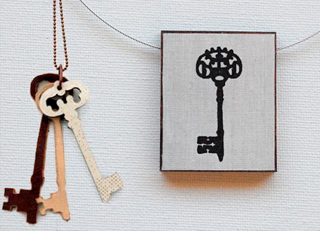 Fabric, resin & wood Eclectic Fabric Pendant and Antique Keys 2 by Shonah Jewellery Design