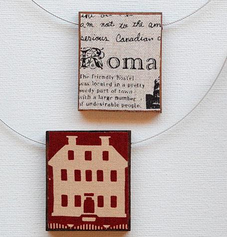 Fabric, resin & wood European Monuments Pendants by Shonah Jewellery Design