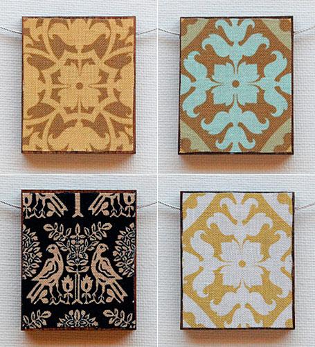 Fabric, resin & wood Spanish Tiles Pendants by Shonah Jewellery Design