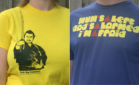 Sweat-Shop Productions Samurai and Alarmed t-shirt designs