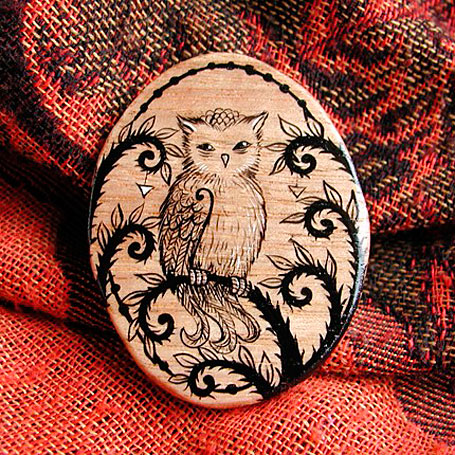 Little Owl Handpainted Brooch by Nadia Turner (Wayward Harper)