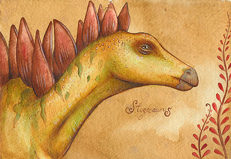 Stegosaurus illustration from My dinosaur ABC by Nadia Turner (Wayward Harper)
