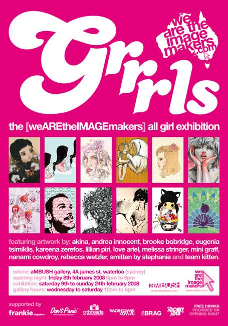 Grrrls exhibition flyer, presented by [weAREtheIMAGEmakers]