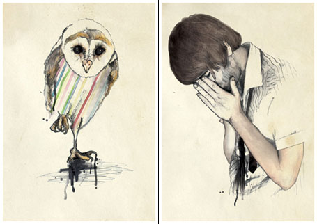 Owl and Alex from Patras limited edition art prints by Kareena Zerefos