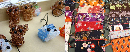 Crystal Bead Dogs by Jo-Ann Lai and fabric purses by Michele Taylor pictured at the Wonderkind Bazaar at RMIT 8.10.2008.