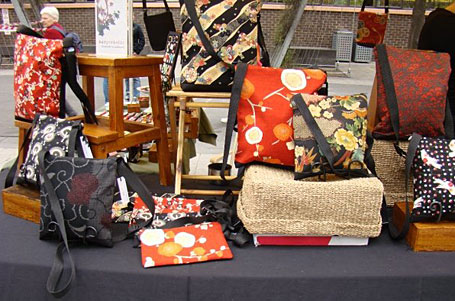 Fabric bags by Michele Taylor pictured at the Wonderkind Bazaar at RMIT 8.10.2008.