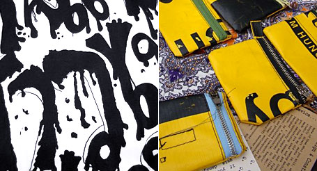 T-Shirt design by Karn Kulla-Ark and yellow cases by Quentin Irvine pictured at the Wonderkind Bazaar at RMIT 8.10.2008.