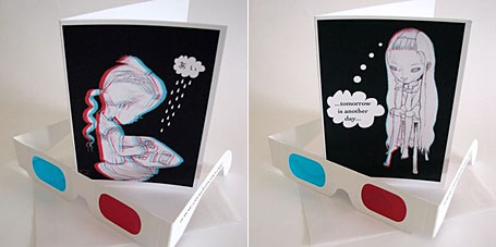 3D gift cards with 3D glasses by innocentgirl, Andrea Innocent, available from the Yradier online store.