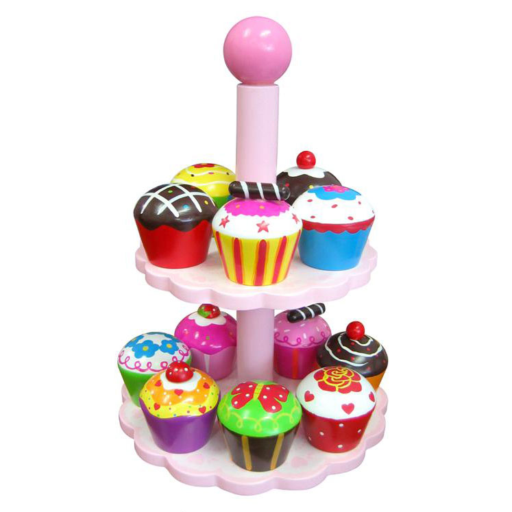 12 Wooden Cupcakes With Stand Indie Art Design