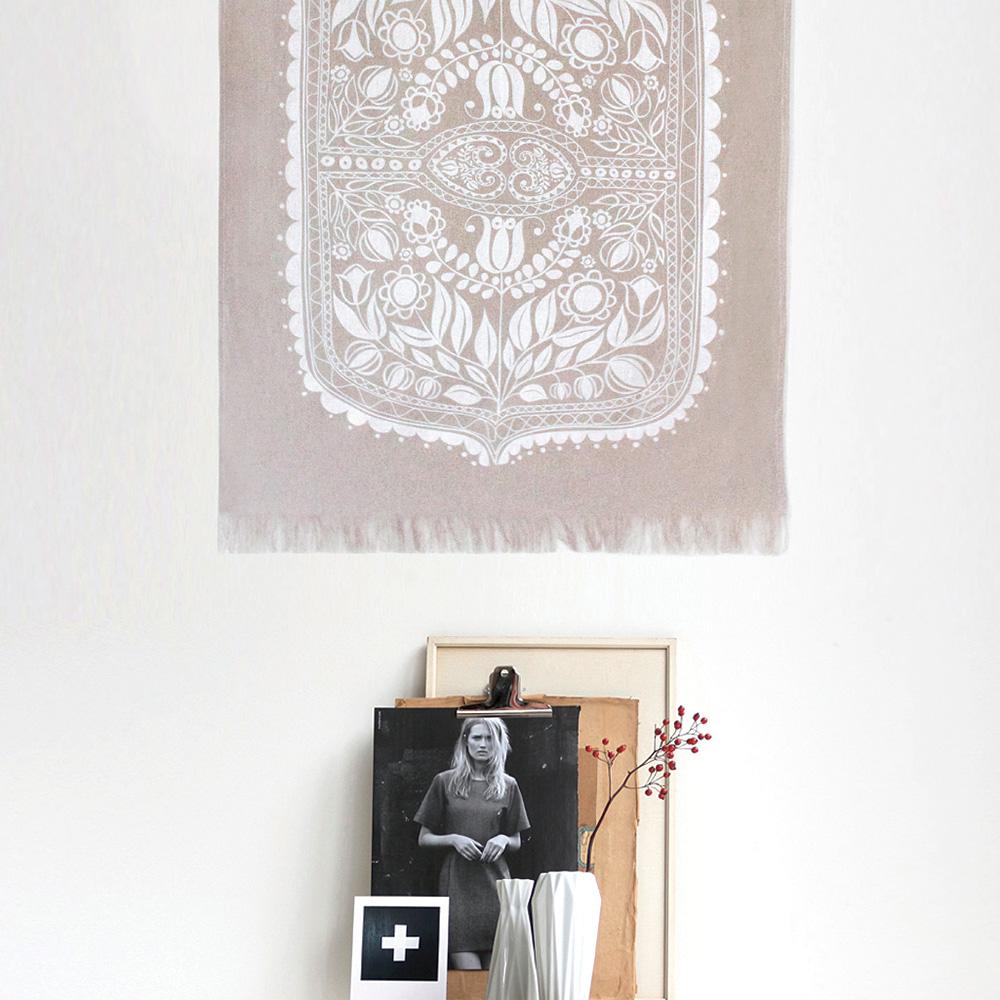 Polish Folk Art Floral Screen Print White On Pure Linen