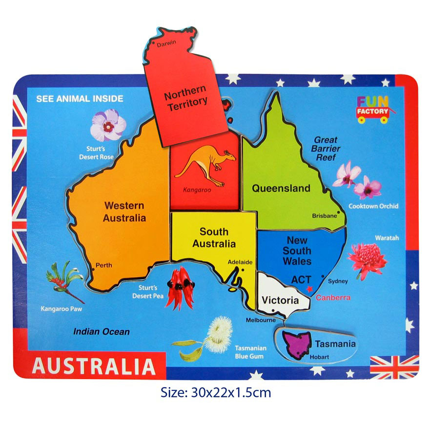 Wooden Australia Jigsaw Puzzle Raised Pieces Indie Art