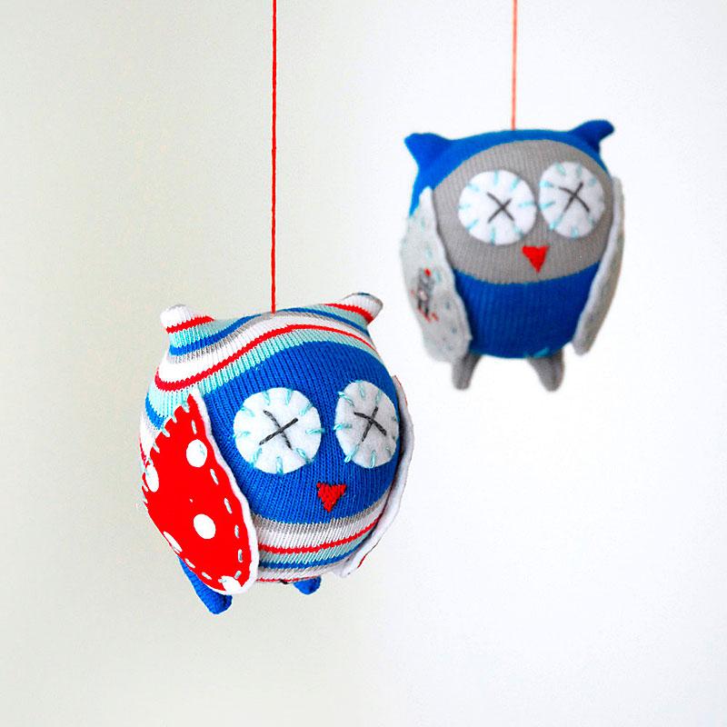 Owl Mobile Craft Kit Robo Blue Indie Art Design