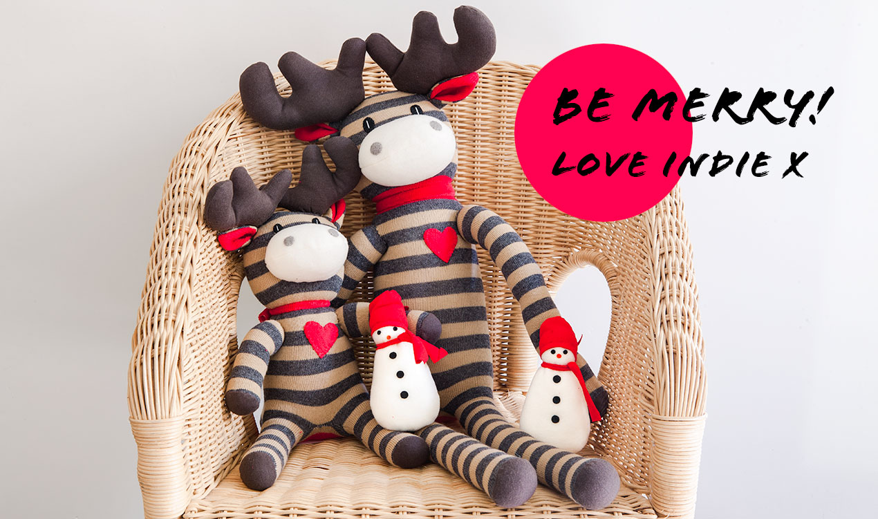 Christmas moose soft toys and Be Merry greeting from indie art & design